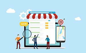 Local SEO Market Strategy Business Search Engine Optimization With Team People Working Together on Front of Store and Maps Online